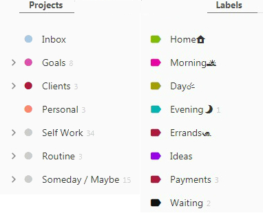 todoist projects and labels